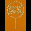 Happy Birthday kerek szívekkel arany beszúrható dísz