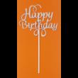 Happy Birthday ezüst beszúrható dísz