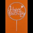 Happy Birthday kerek rózsaszín strasszos beszúrható dísz