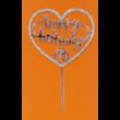 Happy Birthday szív alakú ezüst strasszos beszúrható dísz