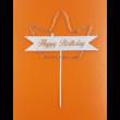 Ledes Happy Birthday pink koronás beszúrható dísz