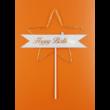 Ledes Happy Birthday arany csillagos beszúrható dísz