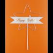 Ledes Happy Birthday ezüst csillagos beszúrható dísz
