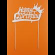 Happy Birthday eztüst koronás beszúrható dísz