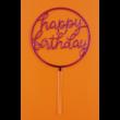 Happy Birthday kerek pink beszúrható dísz