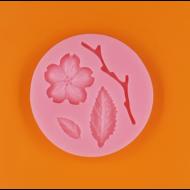 Szilikon forma cseresznye virág ággal