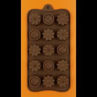 Szilikon csoki öntő forma virágok 15 darabos