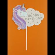 Ledes Happy Birthday unikornis beszúrható dísz