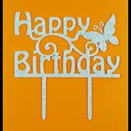 Happy Birthday ezüst beszúrható dísz lepkével