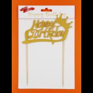 Happy Birthday arany beszúrható dísz koronával