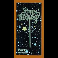 Happy Birthday felirat arany beszúrható dísz