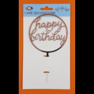 Happy Birthday kerek ezüst beszúrható dísz