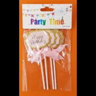 Happy birthday kicsi rózsaszín beszúrható dísz