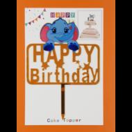 Happy Birthday elefántos arany beszúrható dísz