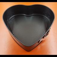 Kapcsos szív fekete tortaforma 27cm
