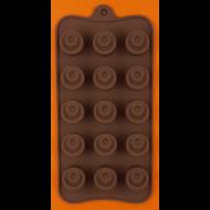 Szilikon csoki öntő forma kerek praliné 15 darabos