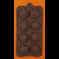 Szilikon csoki öntő forma kagyló csillag halacska 8 darabos