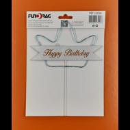 Ledes Happy Birthday kék koronás beszúrható dísz