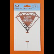 Happy Birthday gyémánt ezüst beszúrható dísz
