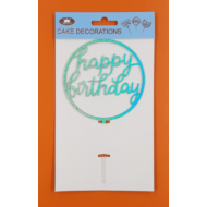 Happy Birthday kerek kék beszúrható dísz