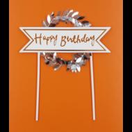 Happy Birthday koszorún ezüst beszúrható dísz