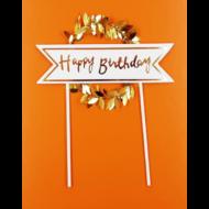 Happy Birthday koszorún arany beszúrható dísz