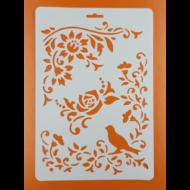 Stencil virágok madárral