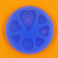 Szilikon forma mintás szívek