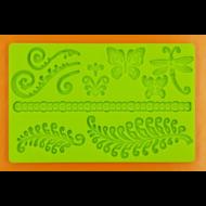 Szilikon forma páfrány pillangókkal
