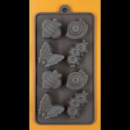Szilikon csoki öntő forma lepke csiga kukac 8 darabos