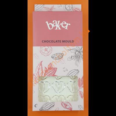 Polikarbonát csoki öntő forma dupla szív 21 darabos