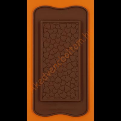 Szilikon csoki öntő forma táblás szív mintás 1 darabos