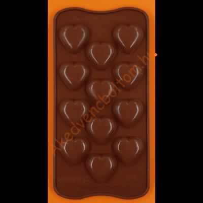 Szilikon csoki öntő forma 3D szívek 12 darabos