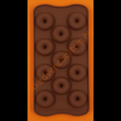 Szilikon csoki öntő forma 3D karikák 11 darabos
