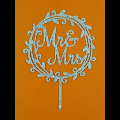 Mr & Mrs ezüst beszúrható dísz