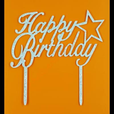 Happy Birthday ezüst beszúrható dísz csillaggal