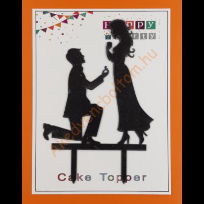Mr & Mrs fekete beszúrható dísz