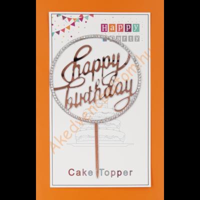 Happy Birthday kerek ezüst strasszos beszúrható dísz