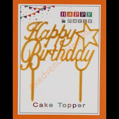 Happy Birthday arany beszúrható dísz