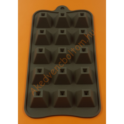 Szilikon csoki öntő forma csonka piramis 15 darabos