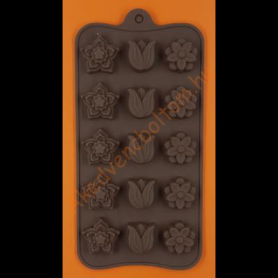 Szilikon csoki öntő forma vegyes virágok 15 darabos