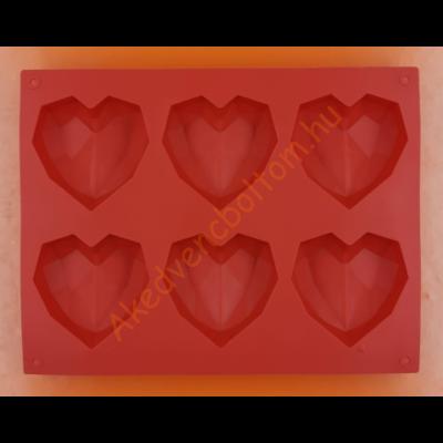 Gyémánt szív 6 darabos szilikon sütőforma