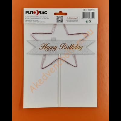 Ledes Happy Birthday pink csillagos beszúrható dísz
