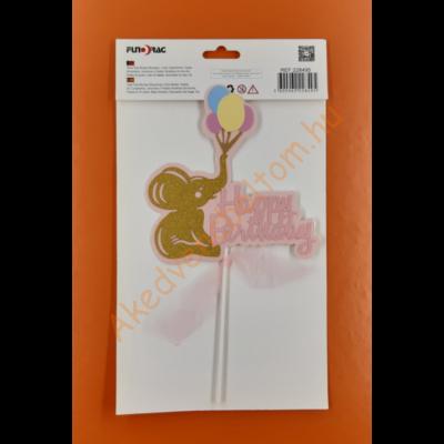 Happy Birthday elefánt lufikkal pink beszúrható dísz