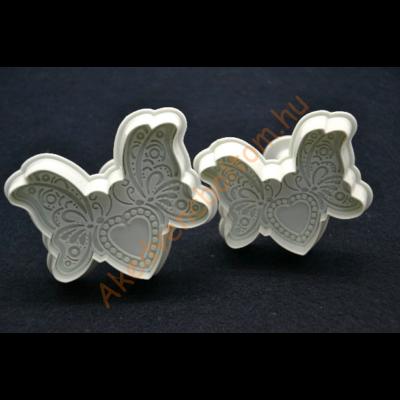 Csipkés szíves pillangó rugós kiszúró szett