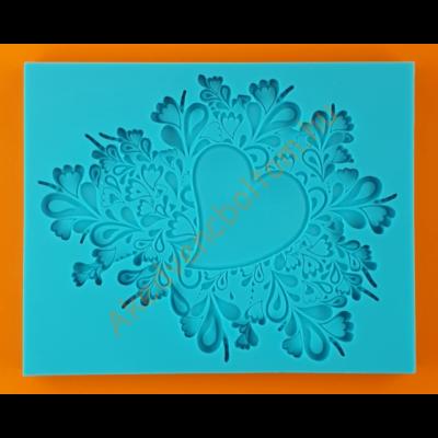 Szilikon forma virágcsokor szívvel