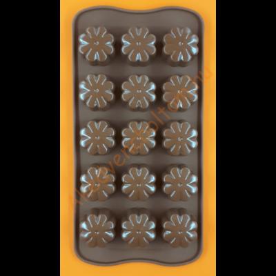 Szilikon csoki öntő forma virág 15 darabos