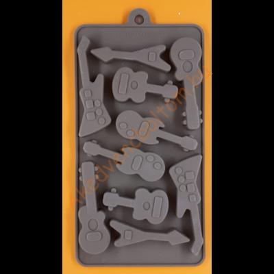 Szilikon csoki öntő forma gitárok 10 darabos