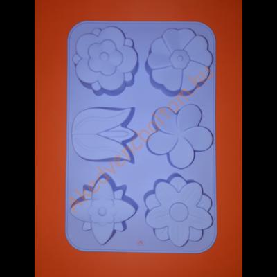 Hat darabos vegyes virágok szilikon sütőforma